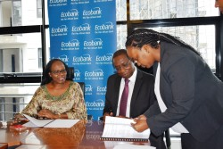 Ecobank Kenya Head of Legal Carol Mbenge - standing - guides IFRC Director, Africa Region Dr Fatouma